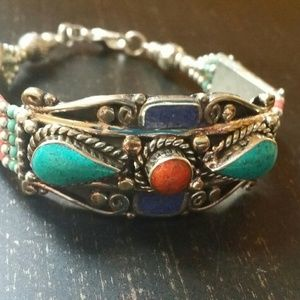 Jewelry - Lapis lazuli red coral turquoise bracelet Sterling